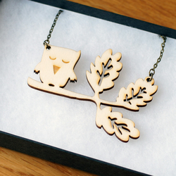 SALE owl laser cut wooden necklace, oak branch with owl, wood, woodland theme