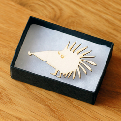 hedgehog brooch, laser cut wood, woodland theme natural jewellery