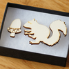 squirrel and acorn brooch, laser cut wood, woodland theme natural jewellery