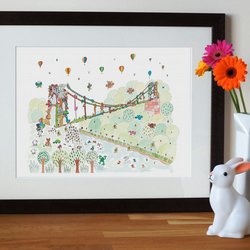 nursery art print, clifton suspension bridge print, bristol