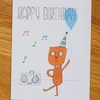 musical dancing bear with balloon, happy birthday card