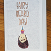 beard face, cupcake, happy birthday card