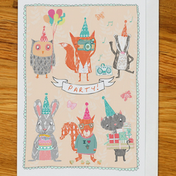 woodland party birthday card, greetings card, owl, fox, cat, badger, squirrel,