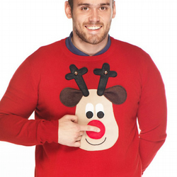 Novelty Christmas Jumper Rudolph Squeaky Nose - Men's XS-XL