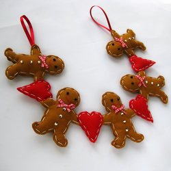 Felt Gingerbread Man Christmas Garland Decoration