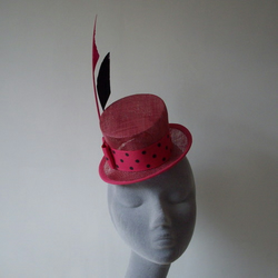 Pink Top Hat with Polka Dot Bow and Arrow Feathers-REDUCED