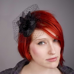 Black Velvet Orchid Veiled Small Fascinator