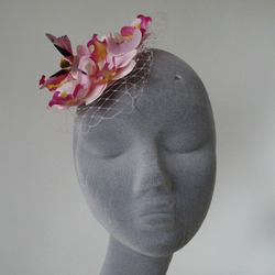 Pink Orchid with Pink Hummingbird Veiled Small Fascinator