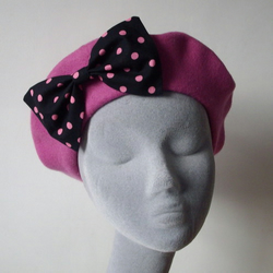 Pink Wool Beret with Black-Pink Polka Dot Bow