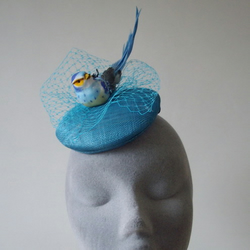Turquoise Forest Bird Veiled Large Fascinator