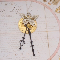 Clock Hands and Butterfly Steampunk Pendant