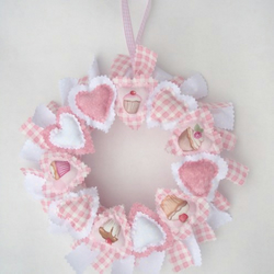 Pink Cup Cake Padded Heart wreath