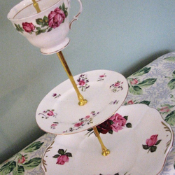 Vintage handmade three tier 'Rosa Rosa' cake stand with teacup!