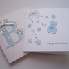 2 Pack Hand-Made (small square) New Baby Congratulations Cards