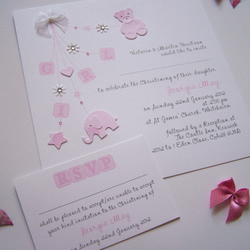 Pack of 10 beautiful handmade Christening Invitations (Pink Girl)