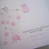 Baby Girl, Hand-Made & Personalised Christening or New Baby Congratulations Card