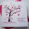 Really pretty hand made and personalised card for a new baby girl.