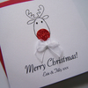 MultiPack (6) Rudolph Christmas Cards - individually personalised (small square)
