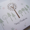 Hand-Made Multipack Christmas Trees Modern Christmas Greetings Cards.