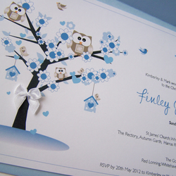 Pack of 10 Hand Made Christening Invitations - Pink or Blue Owl theme.