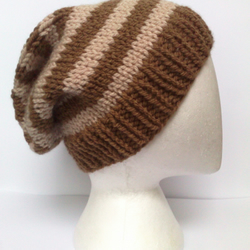 Striped slouchy beanie hat - Taupe and oatmeal beige HAND KNIT - Unisex