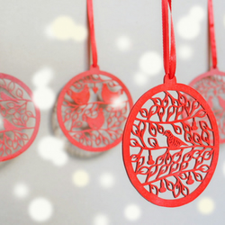 wooden Christmas decorations, red, rustic Christmas decor, laser cut, paper cut