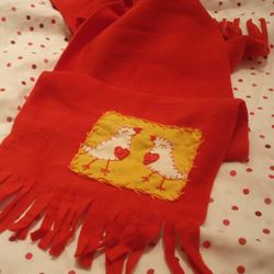 Love Birds Hand Embroidered Fleecey Scarf (Yellow)