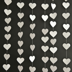 White Paper Love Heart Garland With 'i carry your heart' tag Valentines Wedding