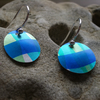 Checked earrings in blue and green