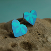Blue hearts and flowers earrings