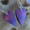 Purple and pink dragonfly heart earrings