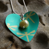 Dragonfly heart pendant in green and yellow
