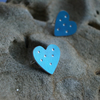 Blue heart studs with dots