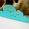 Cloud brooch with seagulls in sky blue