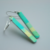 Green and yellow striped rectangle earrings