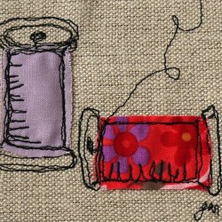 Make do and mend - framed freestyle machine embroidery picture