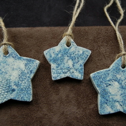 SALE  - Rustic hanging stars in ceramic
