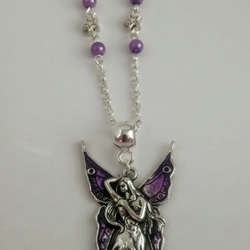 Purple Winged Fairy Charm Necklace
