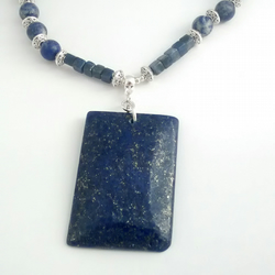 Stunning Lapis Lazuli Pendant on Beaded Necklace