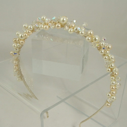 Pearl and crystal tiara hairband - customise your colours!