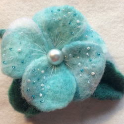 Blue Sky's hand felted flower brooch