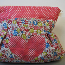 Flowers and Heart Zipped Make up Bag, Jewellery Pouch or Bits & Bobs Purse