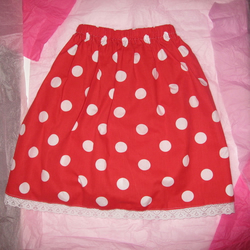 Cute Girls' Red Polka Dot Party Skirt with Sweet Ribbon Detail