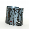 Forest floor cuff grey - print from an original linocut