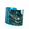 Treetops owl cuff blue - print from an original linocut