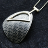 Bird pattern abstract pendant - black and silver
