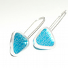 Turquoise fox triangle earrings - sterling silver & aluminium