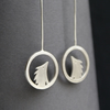 Silver hedgehog drop earrings