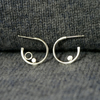 Coastal silver mismatched tiny hoop earrings