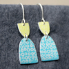 Turquoise and lime dangle earrings